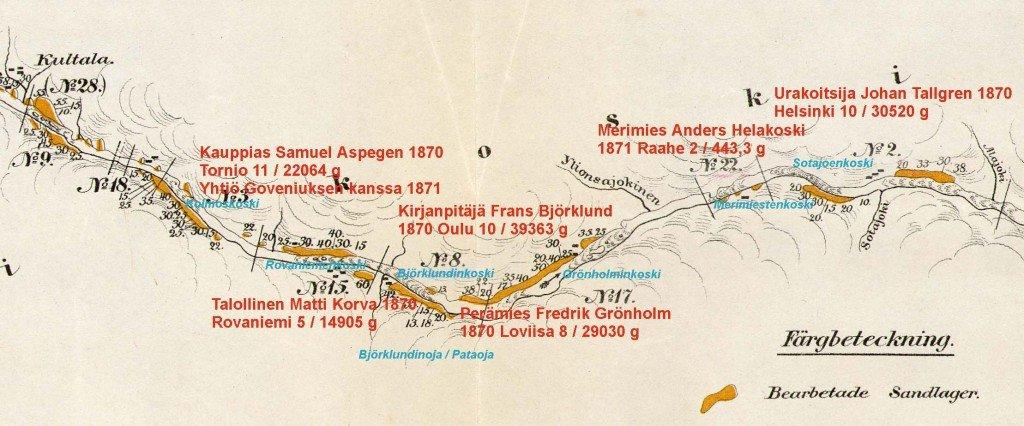 Kultalan alapuolelta Sotajoen suuhun, Ivalojoki 3 1870
