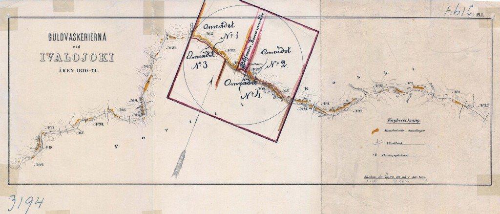 Tämä kartta selvittää sen, miksi ainoa paikka Kultalan alueella on rannasta päärakennukselle johtava polku. Se oli rauhoitettu valtion omaisuudeksi heti alusta lähtien ja vuokratottnien aikana  polku ja rakennusten ympäristö oli kiellettyä kullöankaivualuetta.