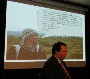Solange van der Moer lähetti oman kiitoksensa Lemmenjoelta otetun kuvansa kanssa.
