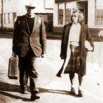 Tyyne ja Jussi kihlamatkalla Inarista Rovaniemelle 1947.